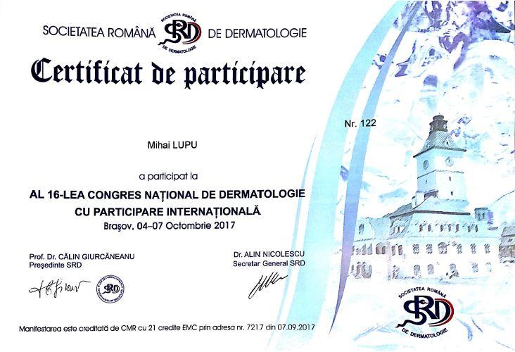 certificat participare dr mihai lupu srd 2017 congres national dermatologie
