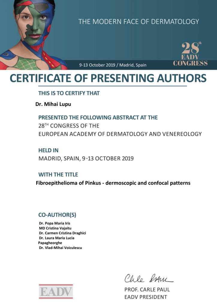 certificate of presenting authors EADV 2019 Madrid