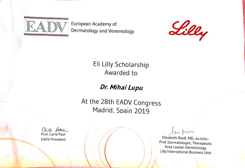 Eli Lilly EADV Congress Scholarship award 2019