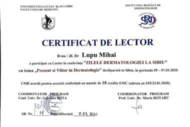 Experienta Zilelor  Dermatologiei la Sibiu, 2020
